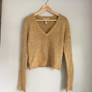 Free People Mustard Cropped Sweater